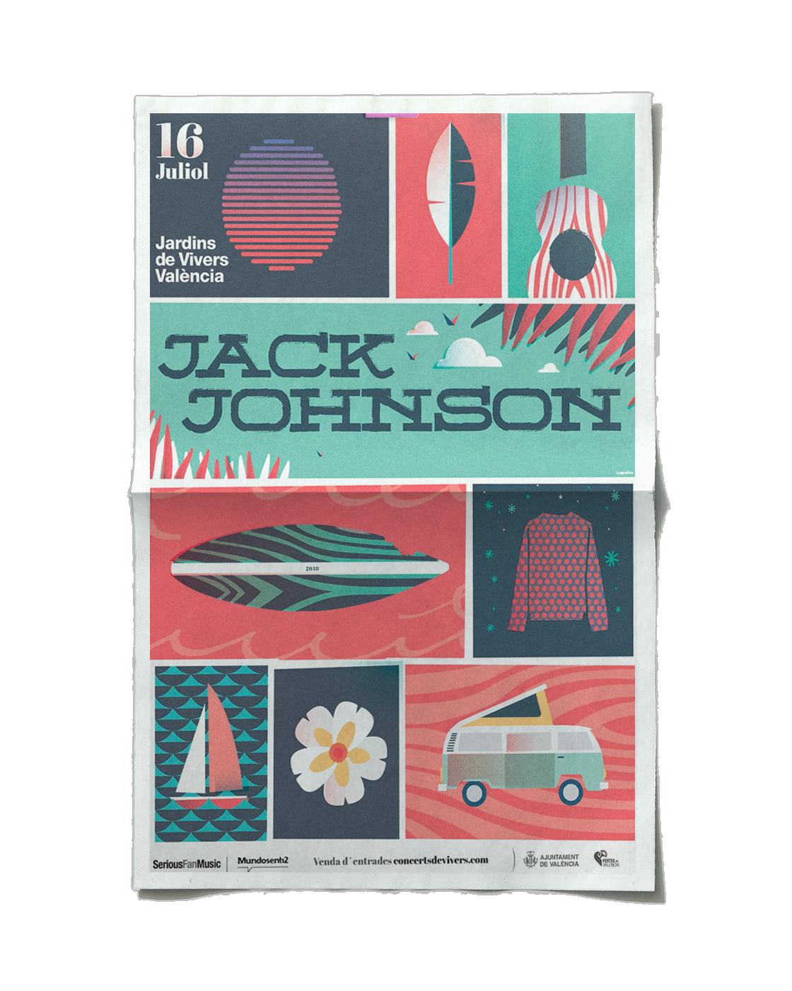 Diseño de poster. Jack Johnson e valencia