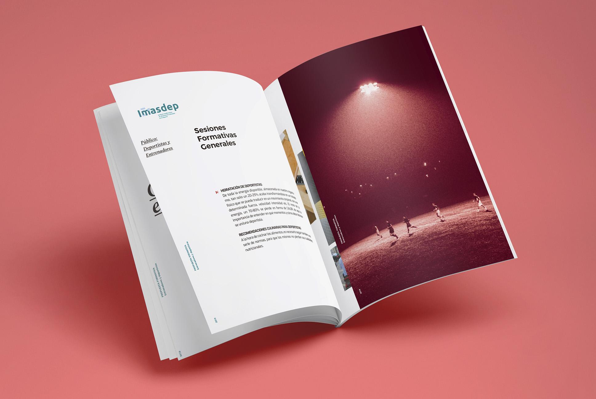 Brochure catalogo abierto. Diseño grafico para IMASDEP