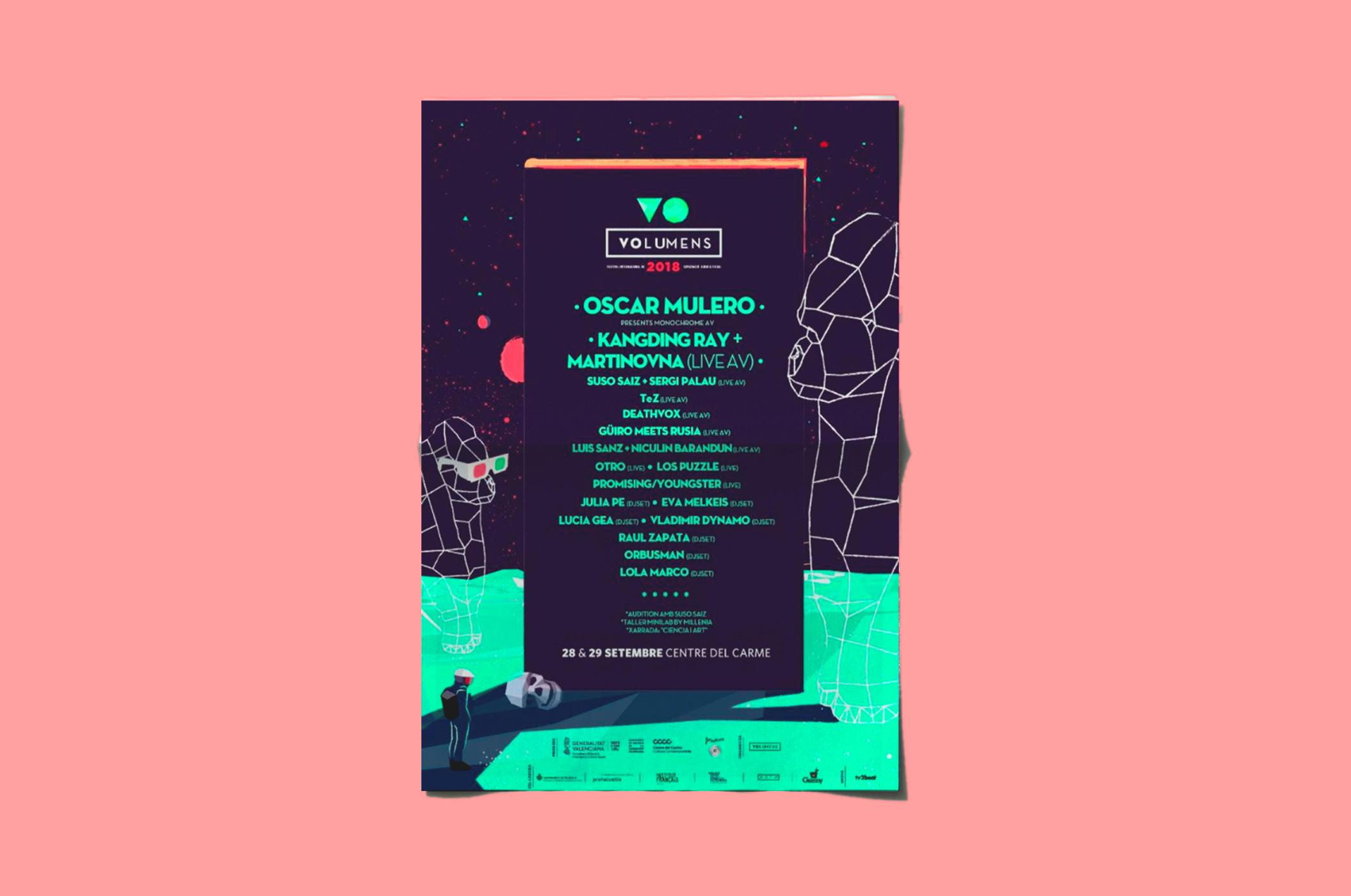 Poster Volumens festival 2018. Diseño grafico por Legrafico ™
